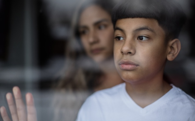 Mayson Barillas, 11, at home with his mother, Sarah, in Damascus, Md, on Feb 4, 2021. Mayson was hospitalised for eight days at Children's National Hospital, where his doctors said he exhibited cardiogenic shock. Rosem Morton/The New York Times