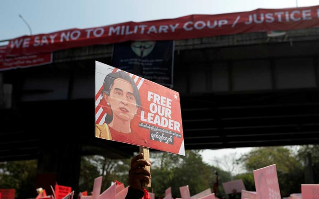 People take part in a protest against the military coup in Yangon, Myanmar, February 16, 2021. REUTERS