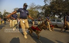 Police's dog squad at the Central Shaheed Minar premises in Dhaka on Thursday, Feb 18, 2021 as part of security measures ahead of the Martyrs Day and International Mother Language Day.