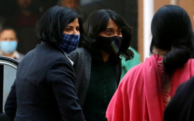 Disha Ravi, a 22-year-old climate activist, arrives at a court in New Delhi, India, Feb 19, 2021. REUTERS