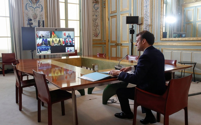 French President Emmanuel Macron takes part in an Online G7 meeting, in Paris, France February 19, 2021. Thibault Camus/Pool via REUTERS