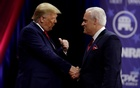 US President Donald Trump (L) shakes hands with Matt Schlapp, chairman of the American Conservative Union, at the Conservative Political Action Conference (CPAC) annual meeting at National Harbour in Oxon Hill, Maryland, US, February 29, 2020. REUTERS