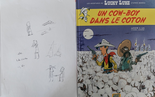 "Some draft drawings and the cover of cartoonist Julien Berjeaut's first contribution to the Lucky Luke comic book series, ""A Cowboy in High Cotton,"" in Paris, Feb. 12, 2021. The New York Times"