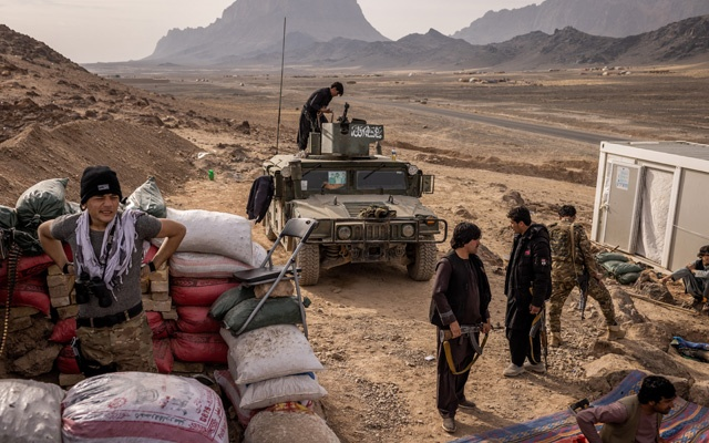Afghan security forces at a lone outpost in Kandahar, on the edge of the Panjwai District in Afghanistan, Jan 30, 2021. The New York Times