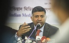 Indian High Commissioner Vikram Doraiswami speaking at a discussion organised by Indian Media Correspondents Association on Bangabandhu and Bangladesh-India ties at the National Press Club in Dhaka on Tuesday, Feb 23, 2021. Photo: Asif Mahmud Ove