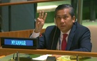 Myanmar's ambassador to the United Nations Kyaw Moe Tun holds up three fingers at the end of his speech to the General Assembly where he pleaded for International action in overturning the military coup in his country as seen in this still image taken from a video, in the Manhattan borough of New York City, New York, US, February 26, 2021. United Nations TV/Handout via REUTERS