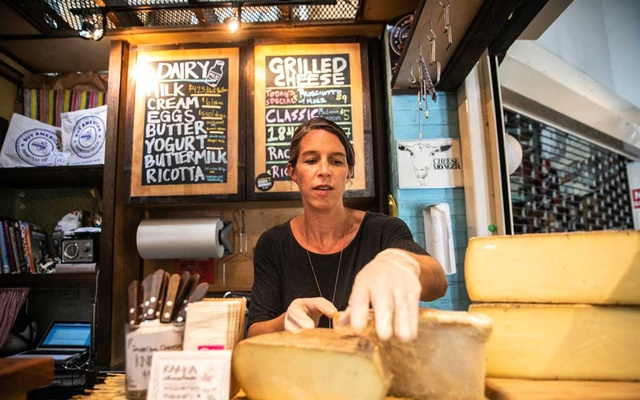 Co-owner Anne Saxelby at work at Saxelby Cheese Mongers in Manhattan, Aug. 23, 2018. The New York Times