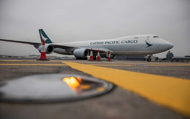 A Cathay Pacific cargo plane carrying Fosun-BioNTech COVID-19 vaccines prepares to dock at Hong Kong International Airport, in Hong Kong, China Feb 27, 2021. REUTERS/FILE