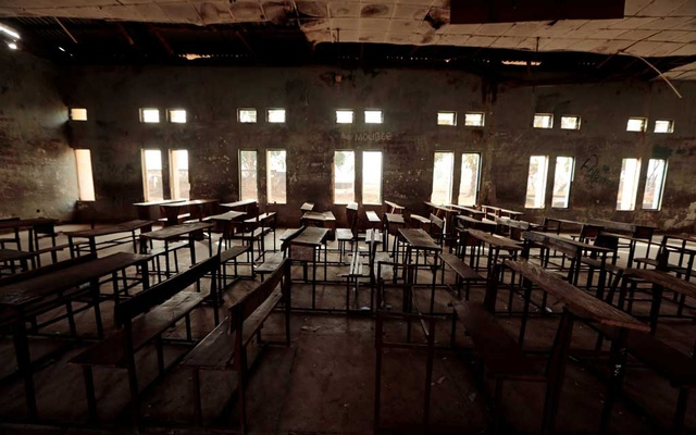 A classroom furniture is seen arranged inside the hall at the Government Science College in Kagara, Niger state, Nigeria Feb 18, 2021. REUTERS