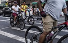 Riders on e-bikes, or bicycles with an integrated electric motor, in New York, Sept 21, 2018. The New York Times
