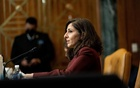 Neera Tanden, President Joe Biden's nominee to lead the Office of Management and Budget, testifies at a Senate hearing on Capitol Hill in aWashington, Feb 10, 2021. The New York Times