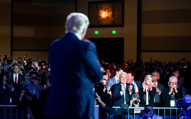 Audience members applaud as former President Donald Trump speaks at the Conservative Political Action Conference (CPAC) in Orlando, Fla, on Sunday, Feb 28, 2021. The New York Times