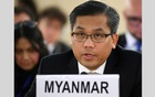 Myanmar's ambassador Kyaw Moe Tun addresses the Human Rights Council at the United Nations in Geneva, Switzerland, March 11, 2019. REUTERS
