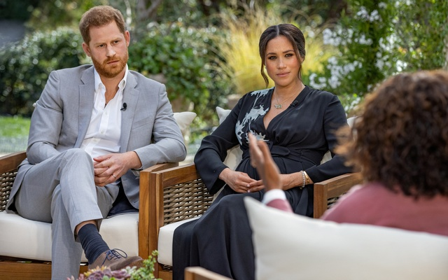 Britain's Prince Harry and Meghan, Duchess of Sussex, are interviewed by Oprah Winfrey in this undated handout photo. Harpo Productions via REUTERS