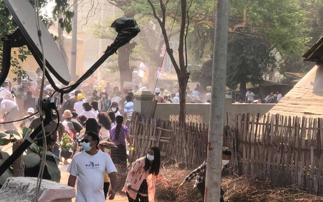 People disperse after security forces fired shots at protesters in Nyaung-U, Myanmar, Mar 7, 2021 in this still image taken from video provided on social media. REUTERS