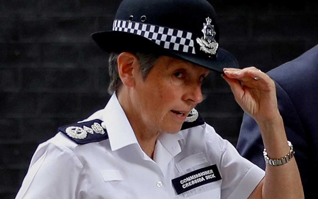 Metropolitan Police Commissioner Cressida Dick leaves after a meeting with Britain's Prime Minister Boris Johnson at Downing Street in London, Britain August 12, 2019. Reuters