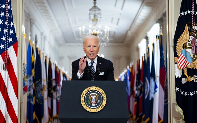 President Joe Biden addresses the nation on the anniversary of the COVID-19 shutdown, from the White House in Washington on Thursday, March 11, 2021. The New York Times