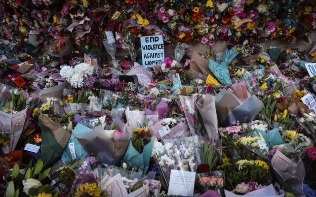 A makeshift memorial at a vigil mourning Sarah Everard and demanding an end to violence against women, March 13, 2021. The New York Times