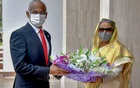 Prime Minister Sheikh Hasina welcomes visiting Maldivian President Ibrahim Mohamed Solih at her office on Thursday, Mar 18, 2021. Photo: PMO