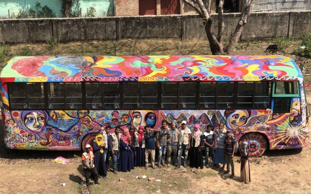 A photo provided by Nesarul Islam Jewel, via Artolution, a school bus that was painted as a mural by Rohingya teenage refugees in Bangladesh, March 9, 2019. (Nesarul Islam Jewel, via Artolution via The New York Times)