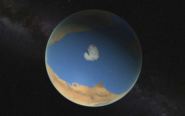 An image provided by NASA's Goddard Space Flight Centre that depicts an ocean that might have once covered northern Mars. A new study concludes that most of the water that once filled rivers lakes and seas on Mars, now a bone-dry desert, went down — sucked into the red planet's rocks where it remains today, trapped within minerals and salts. NASA Goddard Space Flight Centre via The New York Times
