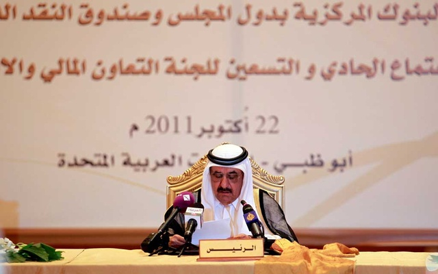 UAE Finance Minister and Deputy Ruler of Dubai Sheikh Hamdan bin Rashid Al Maktoum speaks during a meeting of Gulf Central Bank Governors and finance ministers in Abu Dhabi, United Arab Emirates Oct 22, 2011. REUTERS
