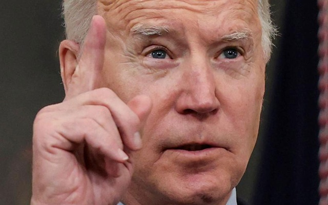 US President Joe Biden speaks about the mass shooting in Colorado from the State Dining Room at the White House in Washington, US, March 23, 2021. REUTERS