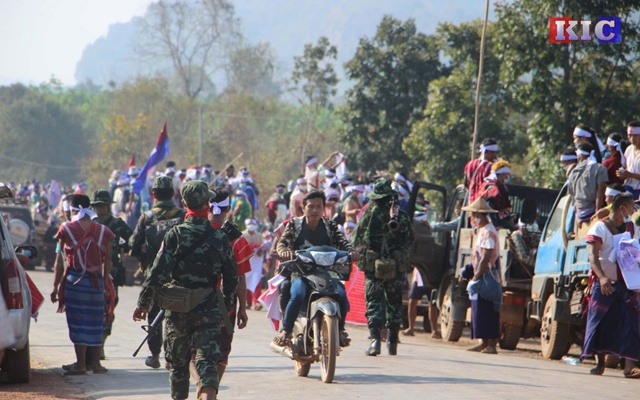 Karen National Union members take part in a protest against the military coup in Papun, Kayin state, Myanmar March 5, 2021. KIC NEWS PAGE/Handout via REUTERS