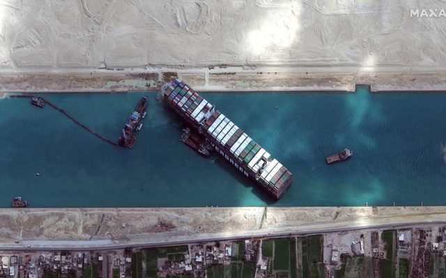 A view shows Ever Given container ship in Suez Canal in this Maxar Technologies satellite image taken on March 28, 2021. Maxar Technologies/Handout via REUTERS