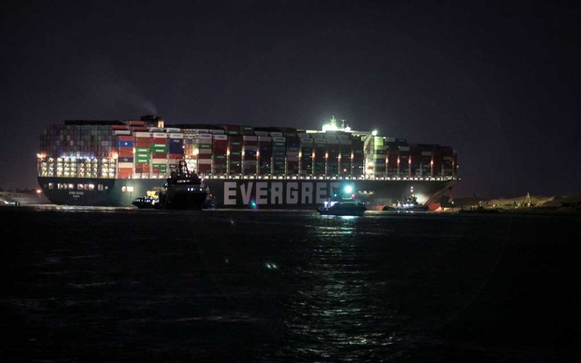 Ongoing efforts to free the Ever Given, a container ship operated by a company called Evergreen, continue in Suez, Egypt on Saturday, March 27, 2021, which has blocked all traffic in the Suez Canal when it became wedged there Tuesday. The New York Times