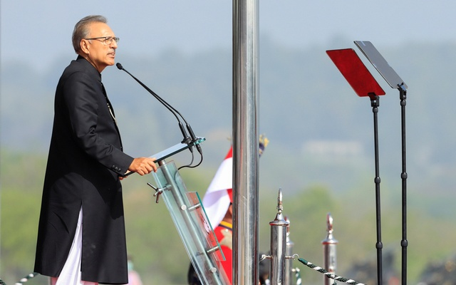 Pakistani President Arif Alvi speaks during the Pakistan Day military parade in Islamabad, Pakistan March 25, 2021. REUTERS