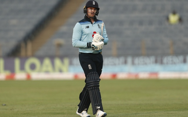 Cricket - Third One Day International - India v England - Maharashtra Cricket Association Stadium, Pune, India - March 28, 2021 England's Jason Roy walks after losing his wicket. REUTERS