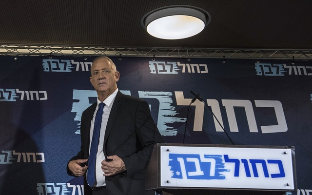 Benny Gantz, former army chief of staff and a challenger to Prime Minister Benjamin Netanyahu, during a meeting at the Blue and White faction in Tel Aviv, Israel, Thursday, Sept. 19, 2019. Gantz's centrist Blue and White party has come out of the election with a slight edge over Prime Minister Benjamin Netanyahu's conservative Likud. As the final votes were being tallied, Blue and White was projected to have won 33 seats to Likud's 31. (Sergey Ponomarev/The New York Times)