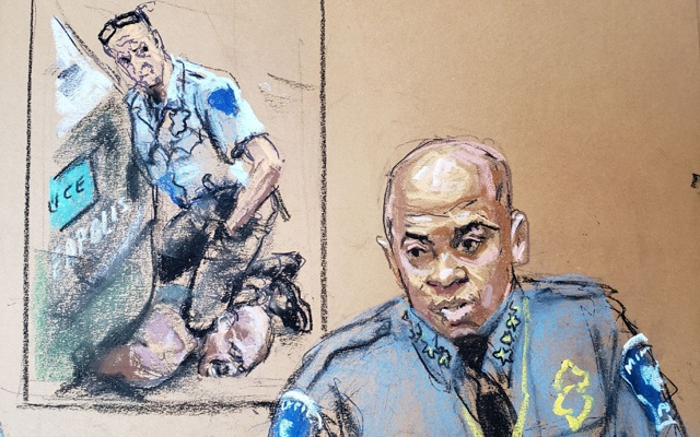 Minneapolis Police Chief Medaria Arradondo answers questions on the sixth day of the trial of former Minneapolis police officer Derek Chauvin for second-degree murder, third-degree murder and second-degree manslaughter in the death of George Floyd in Minneapolis, Minnesota, US April 5, 2021 in this courtroom sketch. REUTERS/Jane Rosenberg