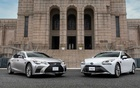 Lexus LS and Toyota Mirai cars in front of the Meiji Memorial Picture Gallery in Shinjuku, Tokyo in this undated handout photo. Toyota via REUTERS