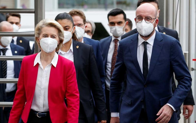 European Commission President Ursula von der Leyen and European Council President Charles Michel arrive at a news conference after their meeting with Turkish President Tayyip Erdogan in Ankara, Turkey April 6, 2021. REUTERS