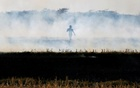 A farmer burns paddy waste stubble in a field on the outskirts of Ahmedabad, India November 15, 2017. REUTERS