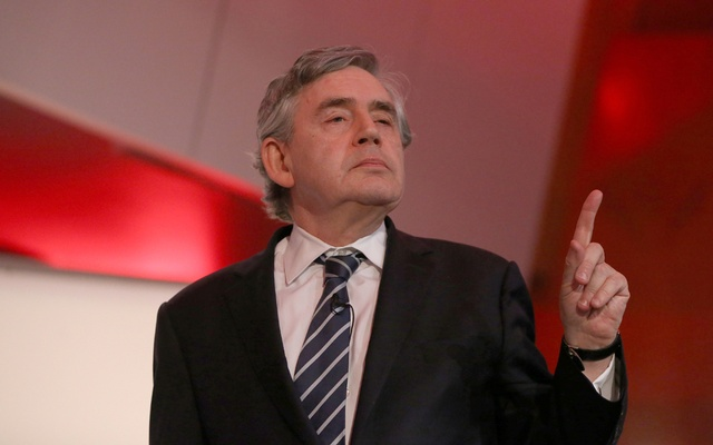 FILE PHOTO: Former British Prime Minister, Gordon Brown, delivers a speech in central London, Britain May 21, 2016. REUTERS/Neil Hall/File Photo