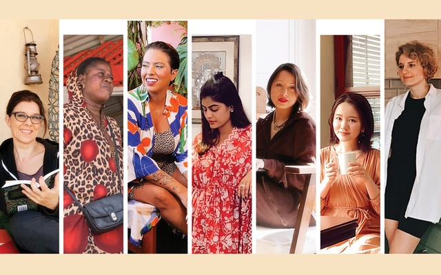 From left, Francesca Nanni in Italy; Bigue Diallo in Senegal; Carla Lemos in Brazil; Sanshe Bhatia in India; Nathalie Lucas in France; Mei Ishimoto in Japan; and Anna Lebedeva in Russia, in April 2021. Not every country's experience of the last year was the same, nor were the clothes that dominated local wardrobes. (Tayler Smith/The New York Times, Ricci Shryock/The New York Times (Senegal))