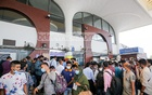Hundreds of stranded migrant workers were left in dismay after finding out that seven of the 14 special flights arranged for them had been cancelled at Shahjalal International Airport in Dhaka on Saturday, Apr 17, 2021, amid the ongoing lockdown in Bangladesh. Photo: Mahmud Zaman Ovi