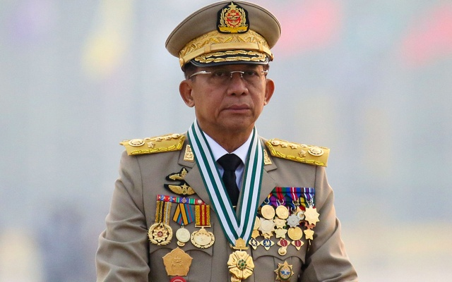 Myanmar's junta chief Senior General Min Aung Hlaing, who ousted the elected government in a coup on Feb 1, presides an army parade on Armed Forces Day in Naypyitaw, Myanmar, Mar 27, 2021. REUTERS
