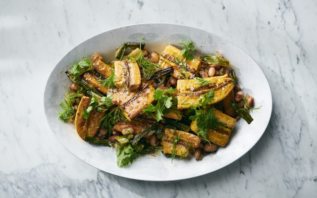 Yewande Komolafe's glazed plantains with beans in New York, Jan 14, 2021. Food styled by Simon Andrews. David Malosh/The New York Times