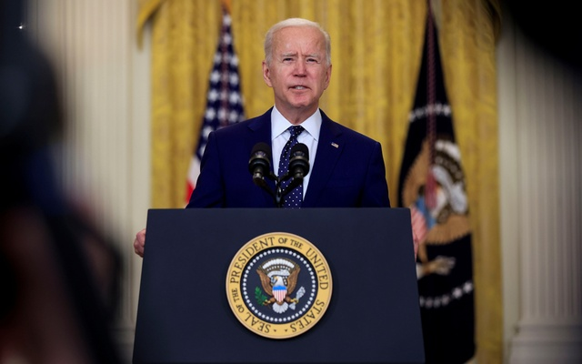 US President Joe Biden delivers remarks on Russia in the East Room at the White House in Washington, US, April 15, 2021. REUTERS