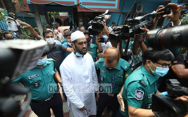 Mamunul Haque, joint secretary general of Hifazat-e Islam, was brought to the office of the Tejgaon deputy police commissioner after he was arrested from Jamia Rahmania Arabia Madrasa in Mohammadpur on Sunday, Apr 18, 2021.