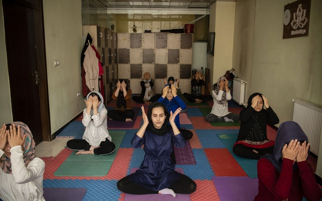 Women practice yoga in Kabul, Afghanistan, April 17, 2021. The New York Times