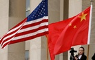US and Chinese flags are seen before a meeting between senior defence officials from both countries at the Pentagon in Arlington, Virginia, US, November 9, 2018. REUTERS