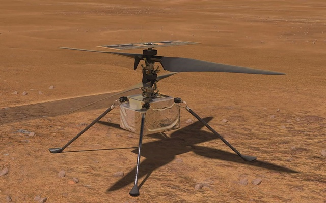 In an undated image provided by NASA/JPL-Caltech, an animation depicting the test flight of NASA's Ingenuity helicopter on Mars. The experimental vehicle named Ingenuity traveled to the red planet with the Perseverance rover, which is also preparing for its main science mission. The New York Times