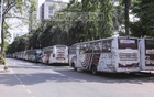 Rows of parked buses line Dhaka's Mirpur Zoo Road as all traffic is closed due to the ongoing lockdown to curb the spread of the coronavirus. Photo: Asif Mahmud Ove