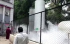 An oxygen tanker leaks at hospital premises where COVID-19 patients died due to lack of oxygen in Nashik, India Apr 21, 2021 in this still image taken from video. REUTERS