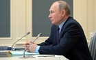 Russian President Vladimir Putin attends a session of the board of trustees of the Russian Geographical Society via a video conference call in Moscow, Russia April 14, 2021. REUTERS